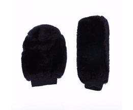 VODOOL 2 pcsCar Accessoire Winter Warm Auto Versnellingspook Cover en Zachte Pluche Handrem Grips Cover Zwart Auto Decoratie