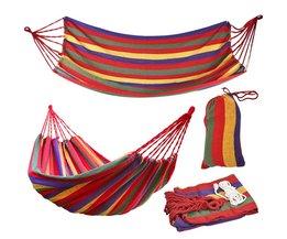 190 cm x 80 cm Streep Hangen Bed Canvas Hangmat 120 kg Sterk en Comfortabel (Rood)