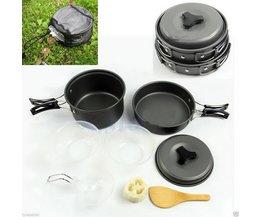 Onfinearrivel 8 stks Outdoor Camping Wandelen Cookware Backpacken Koken Picknick Bowl Pot Pan Set Ondersteuning