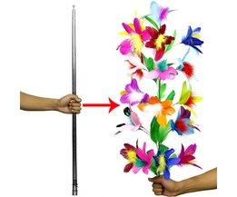 Vanishing Verdwijnende Cane Flower Zilver Cane Close Up Stage Goocheltrucs voor Professionele Goochelaar Magic Props Grappige Gadget