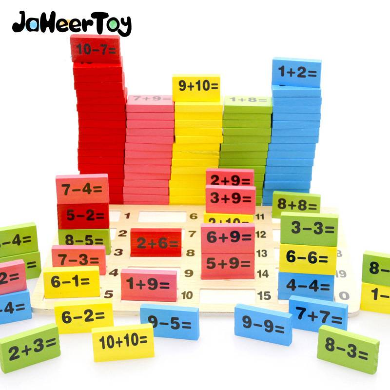 JaheerToy Montessori Educatief Speelgoed Houten Math Speelgoed voor Kinderen Domino 3-4-5-6-7-8 Jaar