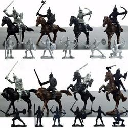 MyXL Kinderen 28 Stks/set Middeleeuwse Ridders Warriors Paarden Kids Speelgoed Soldaten Figures Statische Model Playset spelen op zand castles