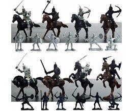 Kinderen 28 Stks/set Middeleeuwse Ridders Warriors Paarden Kids Speelgoed Soldaten Figures Statische Model Playset spelen op zand castles