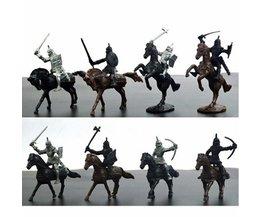 28 STKS Middeleeuwse Ridders Warriors Paarden Kids Speelgoed Soldaten Cijfers Model Playset spelen op zand castles