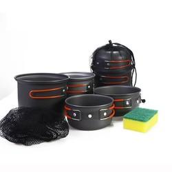 MyXL WIDESEA outdoor kookset 2-3 persoon non-stick Potten Pannen Kommen Draagbare Outdoor Camping Wandelen Koken Set Kookgerei met een spons