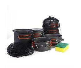 WIDESEA outdoor kookset 2-3 persoon non-stick Potten Pannen Kommen Draagbare Outdoor Camping Wandelen Koken Set Kookgerei met een spons