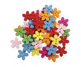 100 Stks 15mm Kleurrijke Bloem Plaksteen Houten Knoppen, voor Naaien, Scrapbooking Ambachten, 7NK75