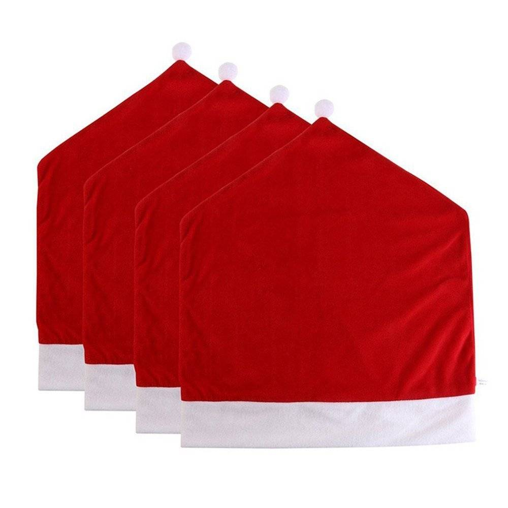1 stuk Kerstman Cap Stoel Cover Kerst Diner Tafel Party Rode Hoed Stoel Terug Covers Xmas Decoratie
