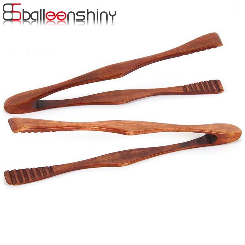 BalleenShiny Bamboe Koken Keuken Tang Voedsel BBQ Tool Salade Bacon Steak Brood Cake Houten Clip thu