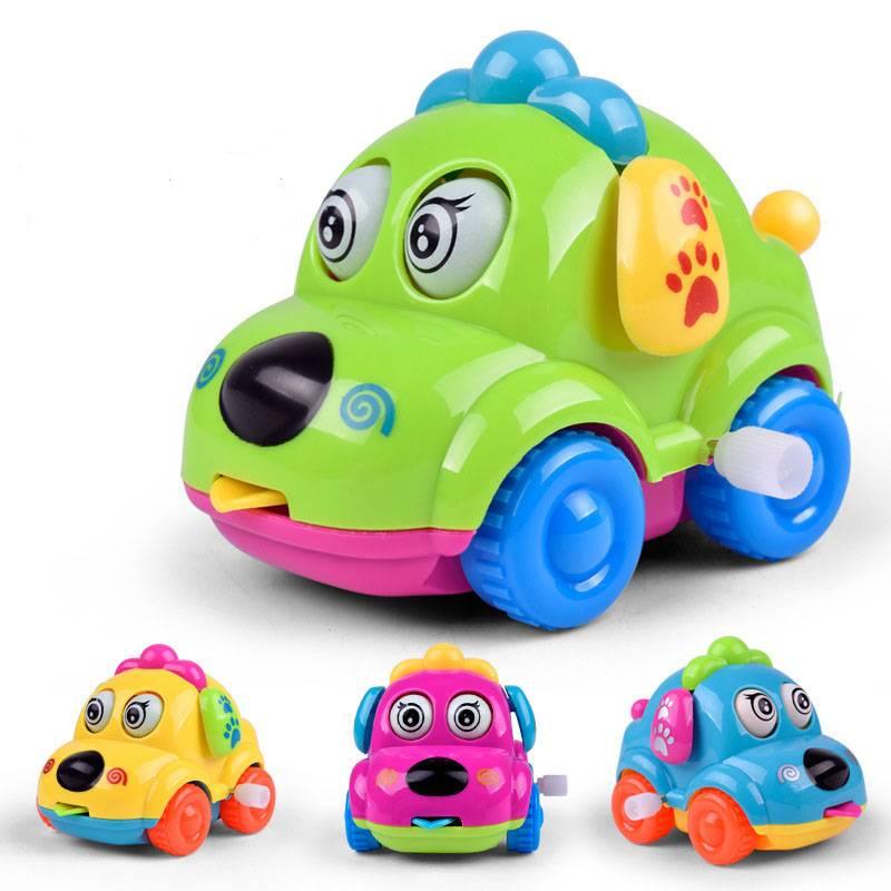 Baby FavorieteCartoon Dier Hond Wind Up Speelgoed Running Auto Clockwork Klassieke Speelgoed
