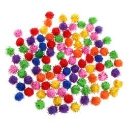 MyXL 100 Stks Kleurrijke Mini Sparkly Glitter Klatergoud Ballen Kleine Pom Bal Voor Kat Speelgoed