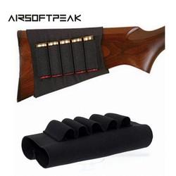 MyXL Airsoft Rifle Jacht Tactical Shotgun Pouches 5 Butt Cartridges Voorraad Shell Houder Elastische Stof Munitie Carrier Pouch