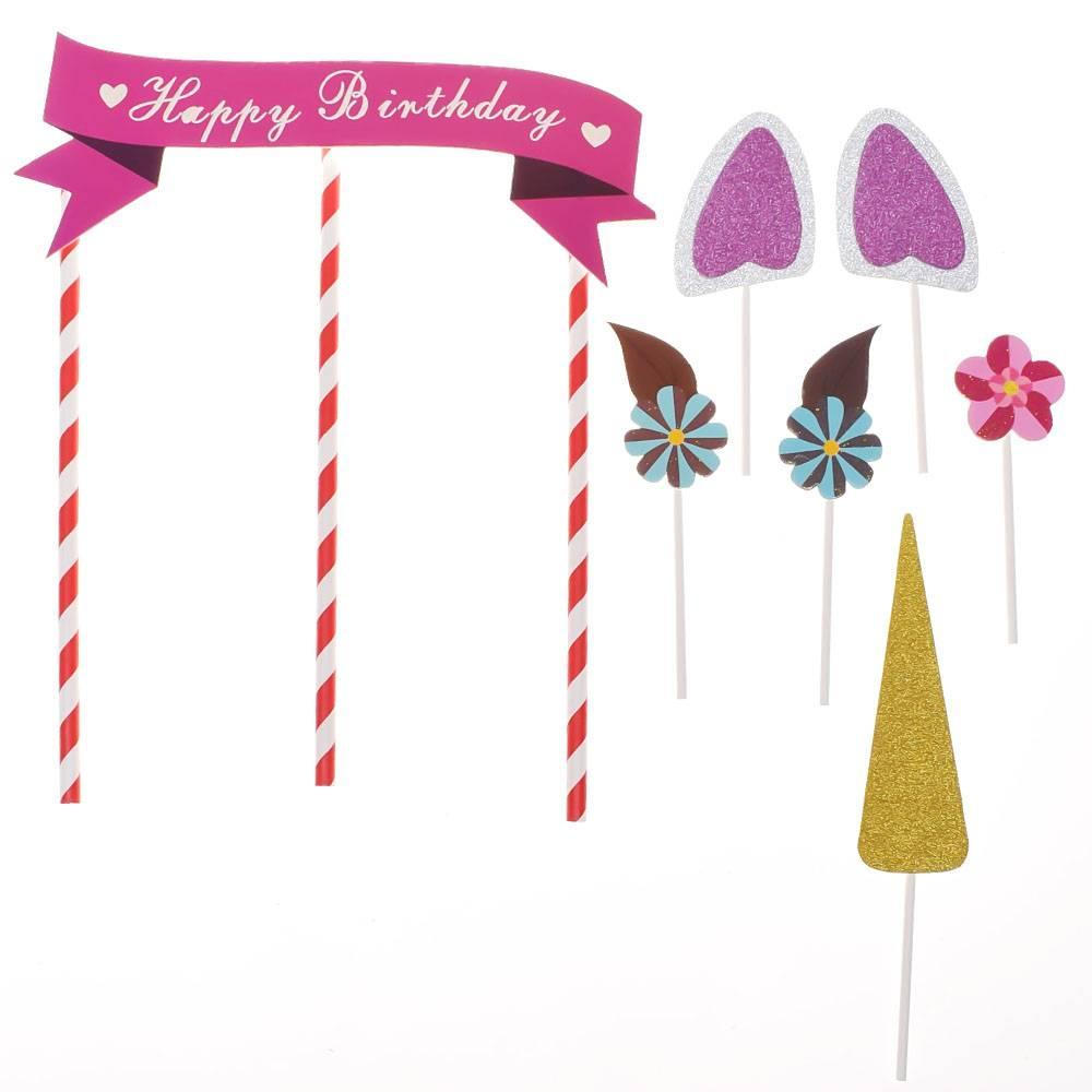 1 set Handgemaakte Roze Eenhoorn Party Cupcake Decoratie Gelukkig Verjaardagsfeestje Vlag Baby Kinde