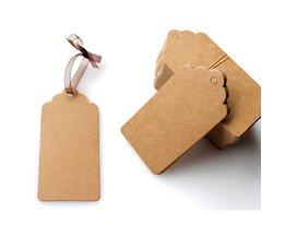 100 stks/partij Bruin Kraftpapier Bruiloft Note + String Tags Kant Schulp Hoofd Label Bagage DIY Blank PrijsHang Tag
