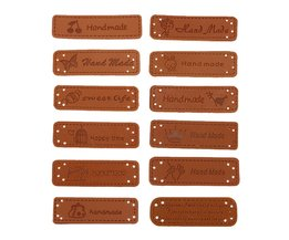 12 stks Hand Made Etiketten voor Kleding Kledingstuk PU Leer Etiketten Handgemaakte Tags Jeans Tassen Schoenen Naaien Accessoires