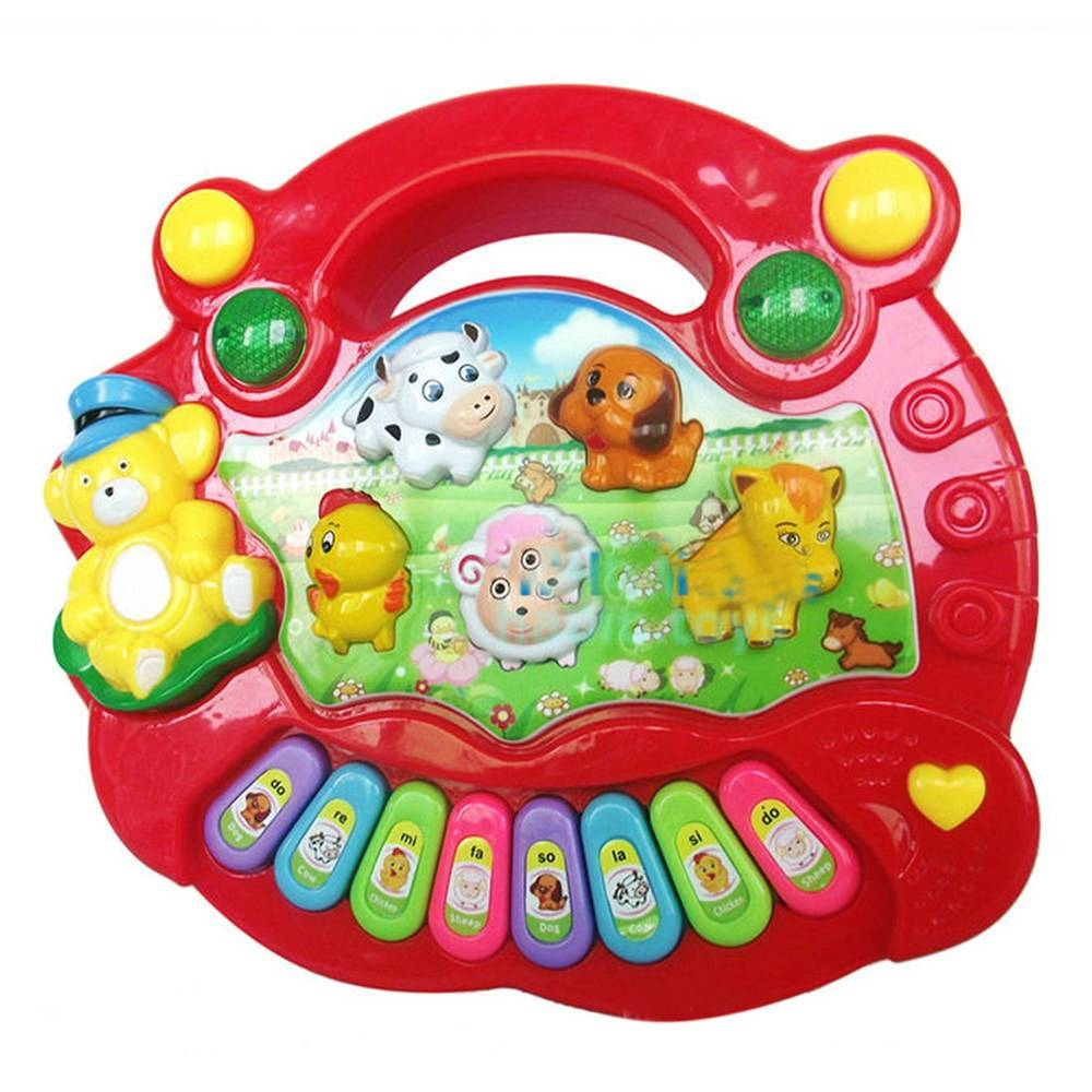 Surwish Baby Kids Kind Animal Farm Toetsenbord Elektrische Piano Muziek Educatief Speelgoed-Kleur Wi