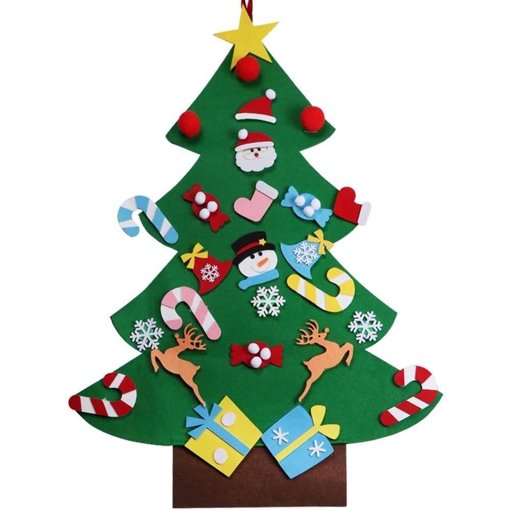 Ourwarm Kerstcadeaus voor 2018 Kids DIY Vilt Kerstboom met Ornamenten Nieuwjaar Decoratie Deur Muur
