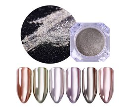 Zilver Goud Spiegel Nail Glitter Shimmer Nail Art Chrome Pigment Poeder Stof Glitters Nail Art Dompelen Manicure UV Gel Polish <br />  Born Pretty