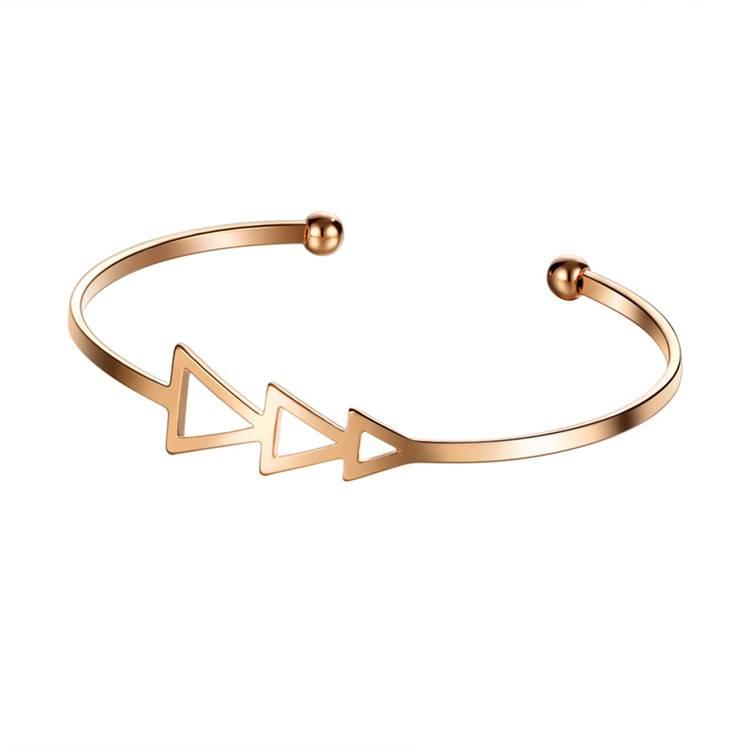 17 KM Kleine Kras Driehoek Open Armband Bangles voor VrouwenVintage Vrouwelijke Rose Goud Kleur Zilv