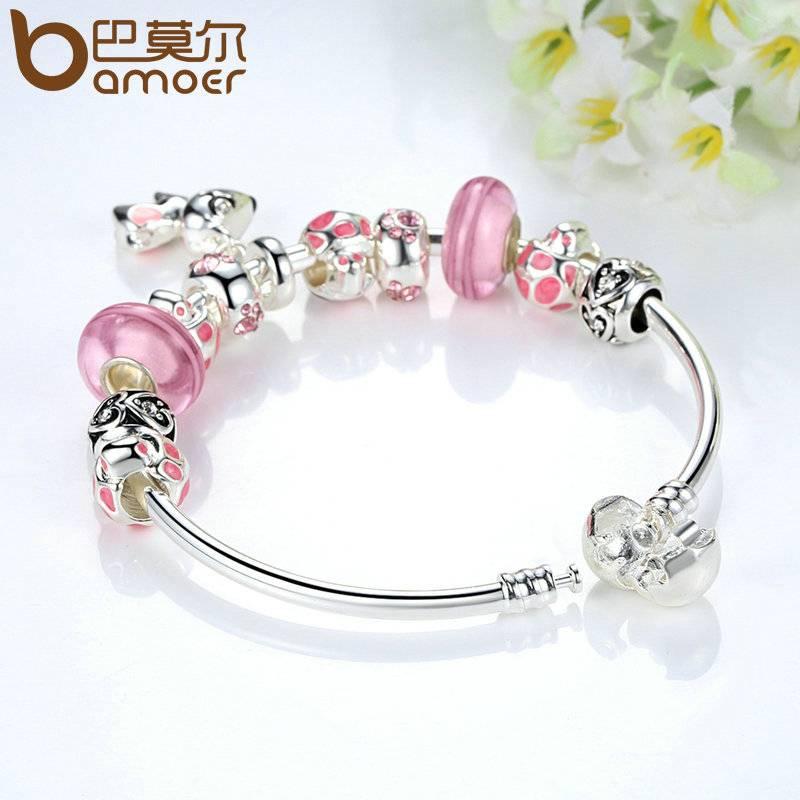Collectie Zilveren Kleur Mooie Hond Hanger Roze Europese Glazen Kralen Charm Armbanden & Bangles Sie