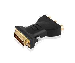 Vergulde dvi adapter dvi-i 24 + 5 man 3 rca component display adapter pc hdtv projector connectors <br />  Robotsky