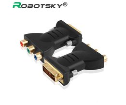 DVI-I 24 + 5 Man 3 RCA Component Display Adapter PC HDTV Projector Connectors vergulde <br />  Robotsky