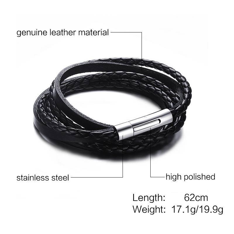 Mannen Zwart Gevlochten Lederen Multilayer Wrap Weave Armbanden voor Mannen Rvs Magnetische Sluiting