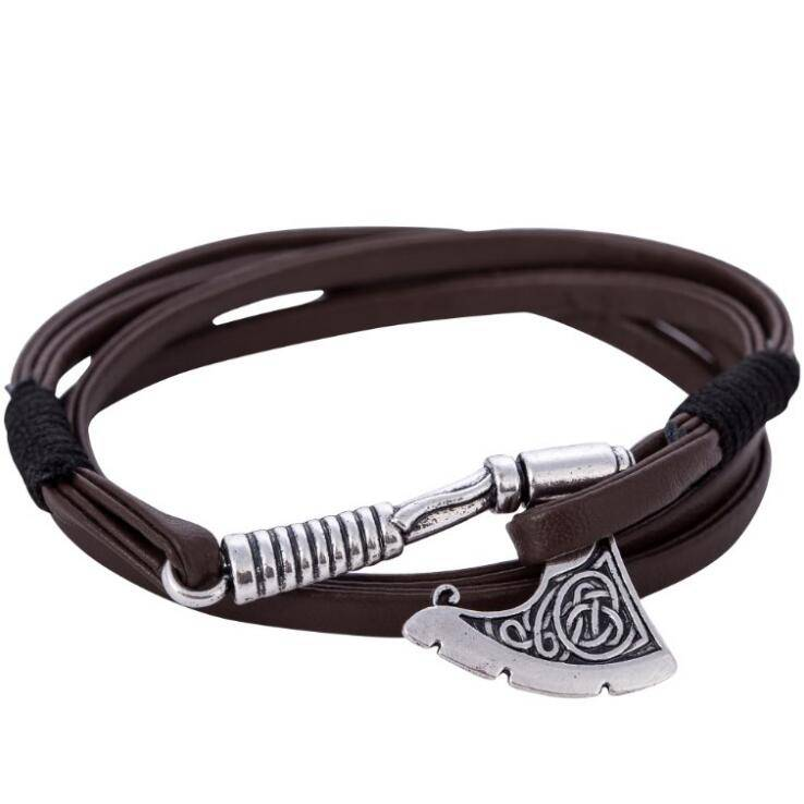 Bijl Wrap anker Armband Lederen Accessoires Slavische Perun Mannen Lederen bangle Armbanden mannen S