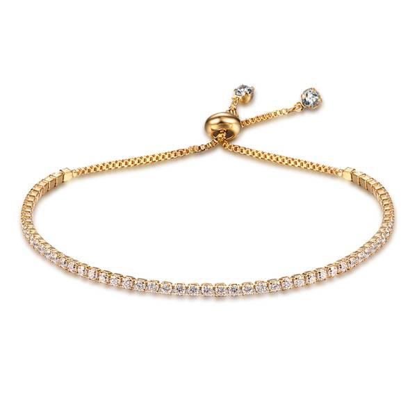 Party Sieraden Verstelbare Armband Voor Vrouwen 2mm Zirconia Gouden Kleur Blacelets & BanglesVoor Ha