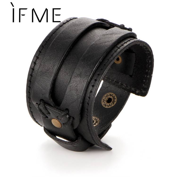 ALS ME Mode Mannen Lederen Armband Open Manchet Touw Bangles & armband Dubbele Breed Zwart Bruin Vin