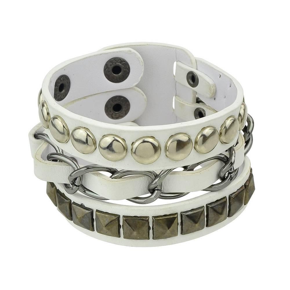 Mannen Sieraden Hip Hop Rock Stijl Sieraden Zwart Wit Pu Lederen Spikes Wrap Armbanden Bangles voor