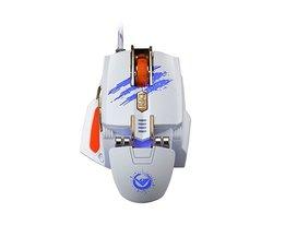 Laser Muis 7 Sleutel Macro Instellingen USB Gaming Muis met 3 Kleur Ademhaling Licht 4000 DPI 4 Speed Transmissionf voor Gamer <br />  RAJFOO