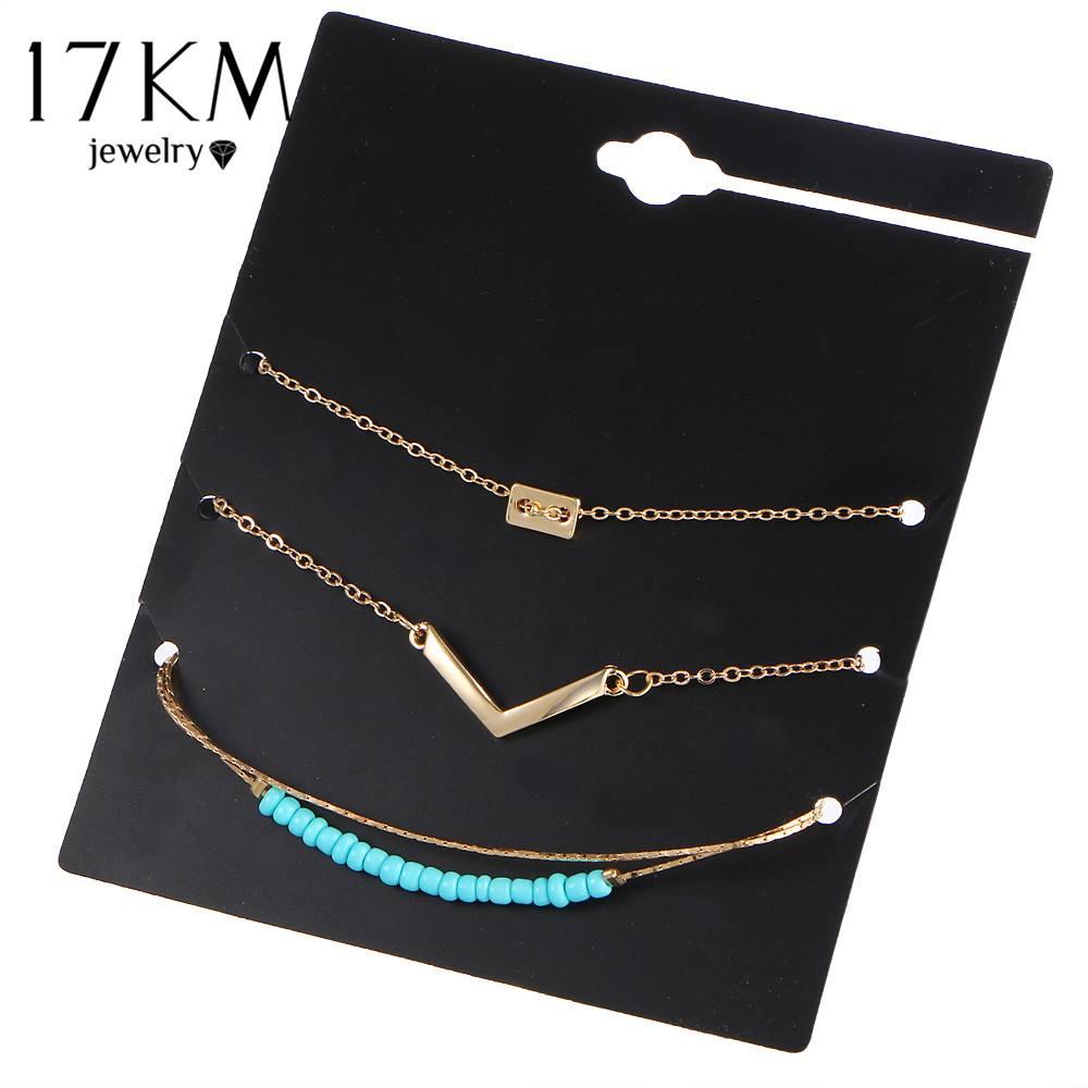 17 KM 3 Stks-setBijoux Brief V Kralen Armband SetVintage Infinity 8 Armbanden Voor Vrouwen Verklarin