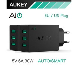 5 V/6A Universal Travel Charger USB Adapter EU US Plug muur Mobiele Telefoon Smart Charger voor Samsung Galaxy s8 iPhone Charger <br />  AUKEY