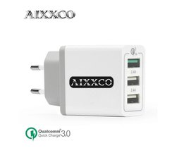 3 USB Charger Quick Lading 3.0 30 W Snelle Mobiele Telefoon Oplader (Quick Charge 2.0 Compatibel) 5 V 2.4A voor Samsung Huawei LG <br />  AIXXCO