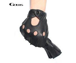 Gours winter heren lederen vingerloze handschoenen zwart en bruin half vinger gym workout fitness rijden mannelijke handschoenen gsm046