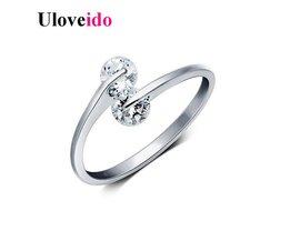 Uloveido Aanpasbare Ringen voor Vrouwen Ring Vrouwelijke Zirkoon Sieraden Aneis Femininos Crystal Anel Anillo Geschenken voor hetJaar Y081