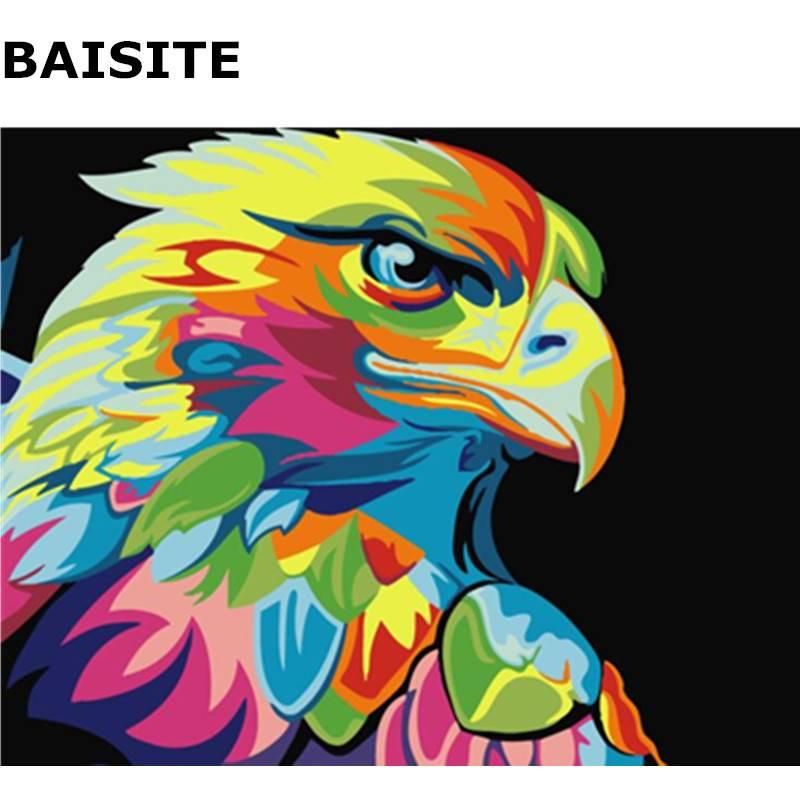 BAISITE Abstracte Kleurrijke Eagle Frameloze DIY Schilderen Nummers Handgeschilderd Olieverfschilderij Home Decor UniekeE566