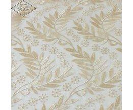 LongshowLuxe Goud Kleur Bladeren Patroon Vierkante Pure Organza Borduren Tafelkleed