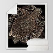 BeddingOutlet Dier Golden Tortoise Fluwelen Pluche Worp Deken Turtles Sherpa Deken voor Couch Bloemen Lotus Soft Gooi