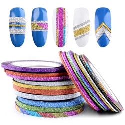 MyXL 10 Rolls Glitter Nail Art Striping Tape Line Sticker Tips Decorations 1 MM/2 MM/3 MM DIY Zelfklevende 3d Decals Manicure Gereedschap<br />  Misscheering