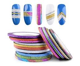 10 Rolls Glitter Nail Art Striping Tape Line Sticker Tips Decorations 1 MM/2 MM/3 MM DIY Zelfklevende 3d Decals Manicure Gereedschap<br />  Misscheering