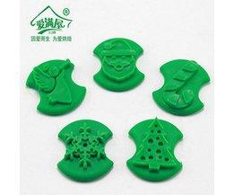 5 stks/set Pet Dinosaur Kerst Vorm Cookie Postzegels Fondant Cutter Biscuit Mould <br />  AMW