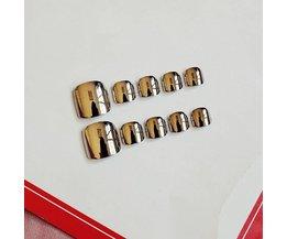 3 kleuren Optioneel 24 Stks/set Super heldere metalen afgewerkt nep nagels, Super brightvolledige Nail tips teen patch, Manicure gereedschap <br />  ALLMEDURE