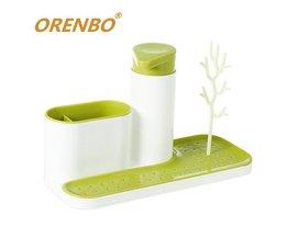 ORENBO Multifunctionele Rekken Creatieve Keuken Rekken Rack Opslag Vloeibare Fles Sink Tidy Set Zeepdispenser Droogrek <br />  MyXL