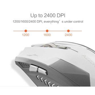 Opgeladen Stille Draadloze Optische Muis Mute Knop Geruisloze Gaming Muizen 2400 dpi Ingebouwde Batterij Voor PC Laptop Computer <br />  AZZOR
