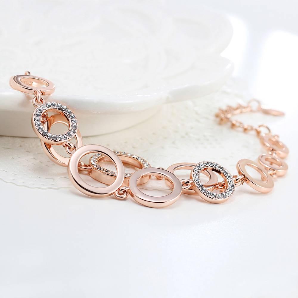 Rose Goud & Zilver Kleur Cirkels Armband & Bangles voor Vrouw Steentjes Verharde Dubbellaags Ronde V
