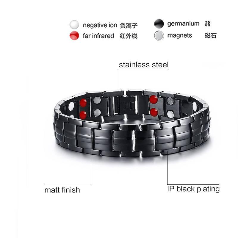 Vnox Punk Gezonde Energie Armband Mannen Zwart Ketting Link Armbanden Sieraden Rvs Magneet Charm Arm