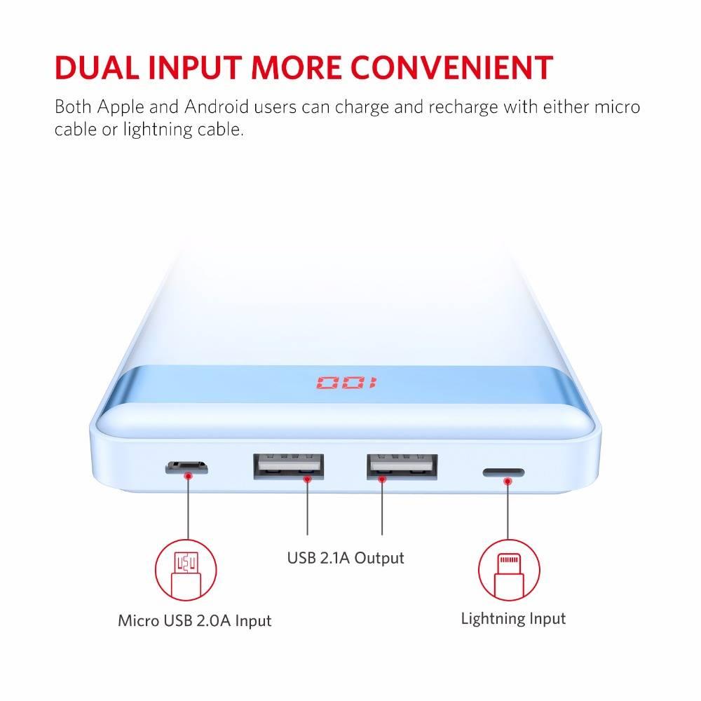 P20000L 20000 mAh Power Bank Dual USB Output-Input Draagbare Oplader met Digitale Display Externe Ba