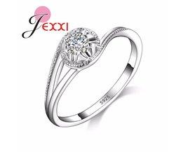 JEXXI Trendy Bruiloft Sieraden Voor Bruid925 Stamped Zilveren Ringen Met CZ Zirconia Vrouwen Verjaardag Beste Cadeaus